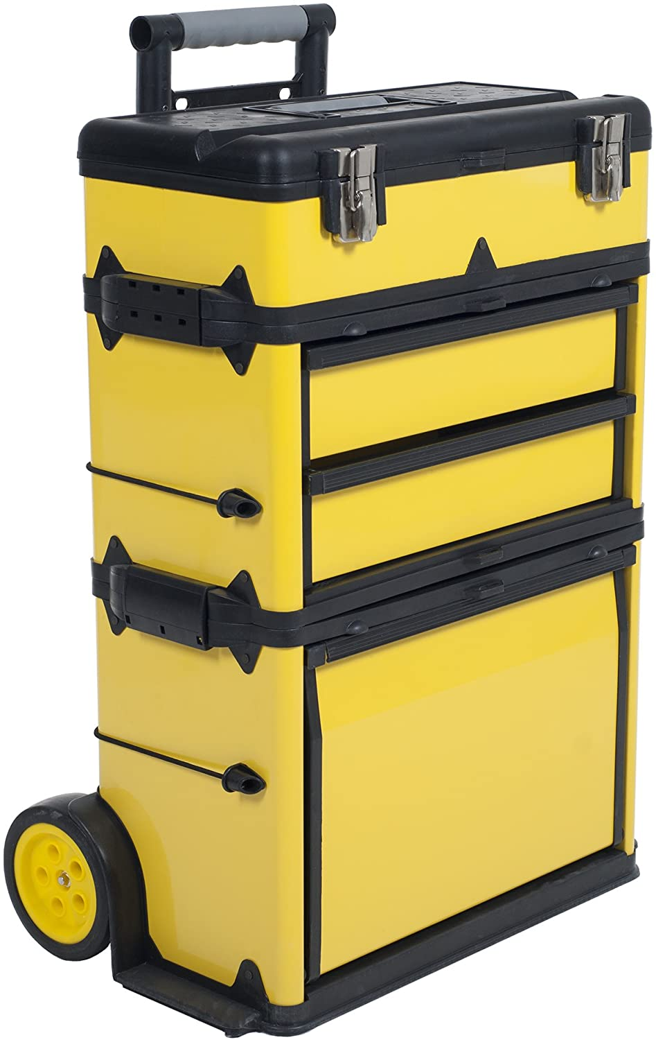 Stackable Toolbox Rolling Mobile Organizer with Telescopic Comfort Grip  Handle – Upright Rigid Pack Out Cart with Wheels and Drawers by Stalwart -  - Amazon.com