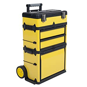 Stalwart Stackable Toolbox Rolling Mobile Organizer with Telescopic Comfort Grip Handle – Upright Rigid Pack Out Cart with Wheels and Drawers