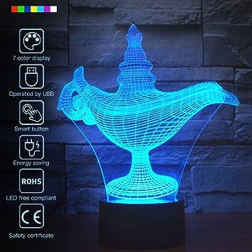 Creative 3D Glow LED Night Light Secret Magic Lamp 7 Colors Optical  Illusion Lamp Touch Sensor