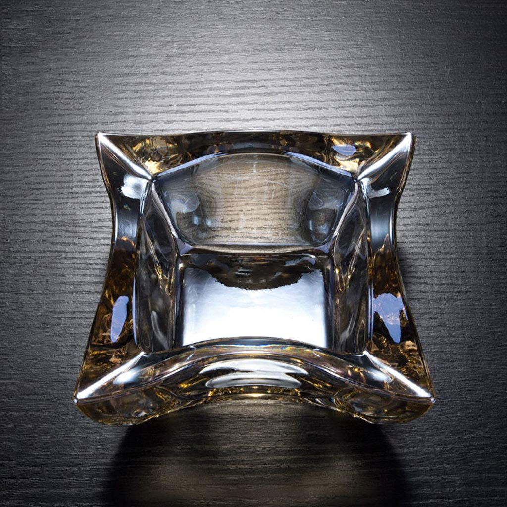 ZDD Crystal Glass Ashtray/Creative Personality Home Practical Ashtray/Decorative Ornaments Gift Four Optional (ø14cm H6.5cm) (Color : Coffee Color)