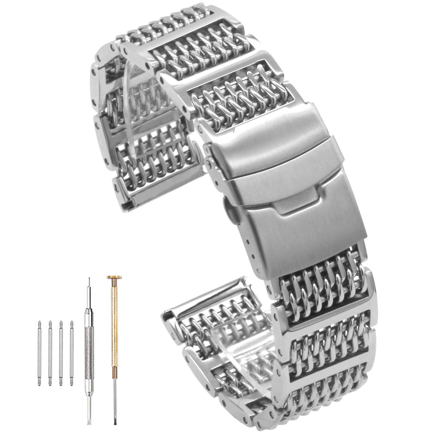 20/22/24mm 6H-Link Shark Stainless Steel Mesh Strap Wrist Watch Band Heavy Duty Diving Watch Strap Mens (22mm, Silver) by Hstrap