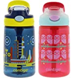 Contigo Gizmo Flip Kids Water Bottles, 14oz, 2pk- Nautical In Space and Ruby Owls - BPA-free Kids Water Bottle with…