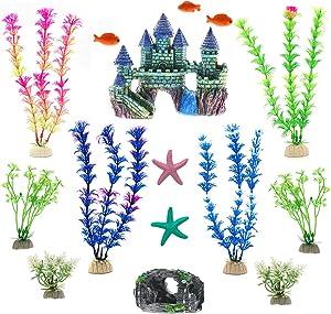 15 Pack Aquarium Decoration Fish Tank Decorations Small Castle Barrel Hideouts Fish Cave Mini Artificial Coral Ornament Anemone Starfish, Mini Fishes and Lifelike Various Sizes Plastic Plants