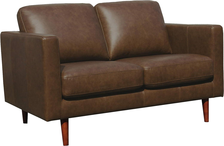 Amazon Brand – Rivet Revolve Modern Leather Loveseat Sofa, 56