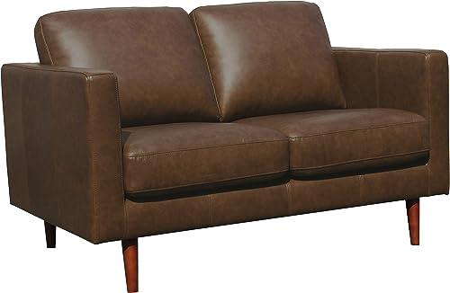 Best living room sofa: Amazon Brand Rivet Revolve Modern Leather Loveseat Sofa
