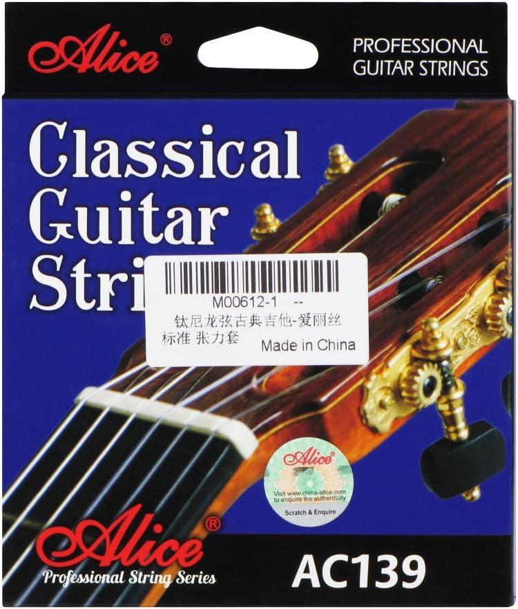 Alice ac139-n titanio juego de cuerdas para guitarra clásica de nailon, núcleo de nailon, plateado 85/15bronce, en espiral, normal