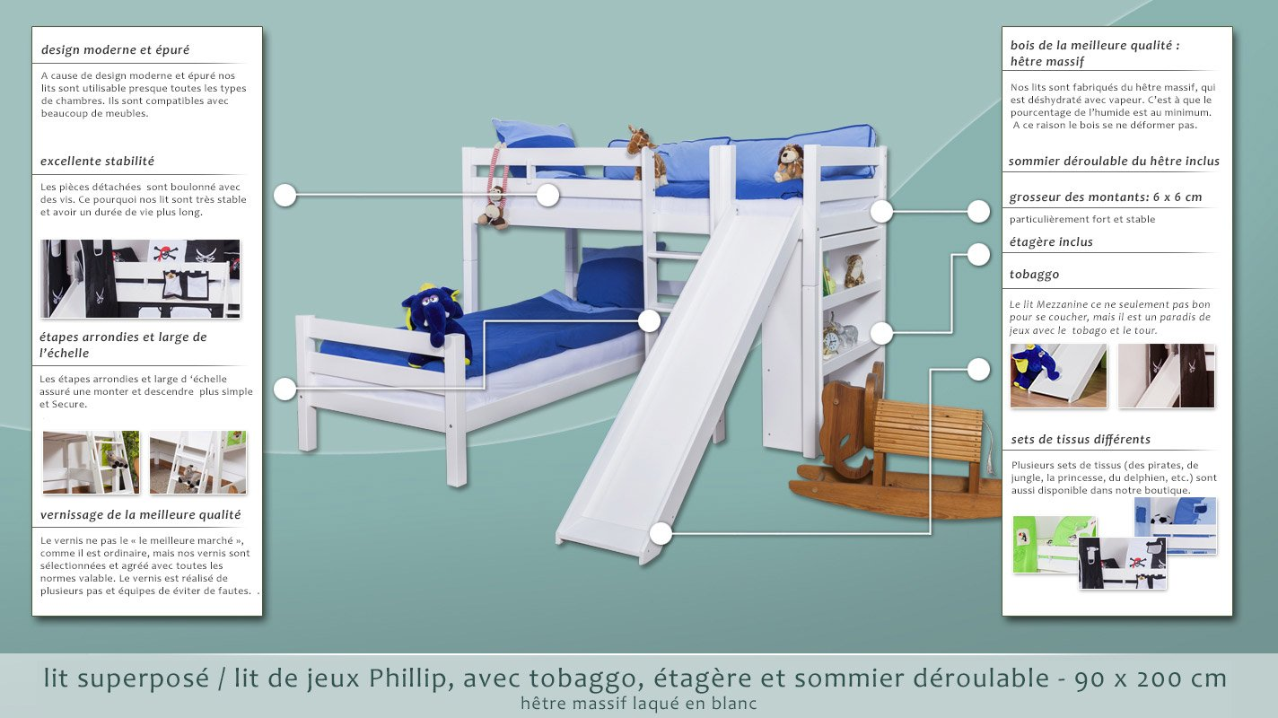 L Shaped Bunk Bed Phillip Solid Beech Wood With Slide And Shelf