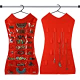 KRIO Designs RED Color Jewellery Organizer Hanging Dress Jewellery Jewelry Bag Double Sided for Necklaces Chains Earrings Watch Pendants Cosmetics