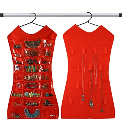 KRIO Designs RED Color Jewellery Organizer Hanging Dress Jewellery