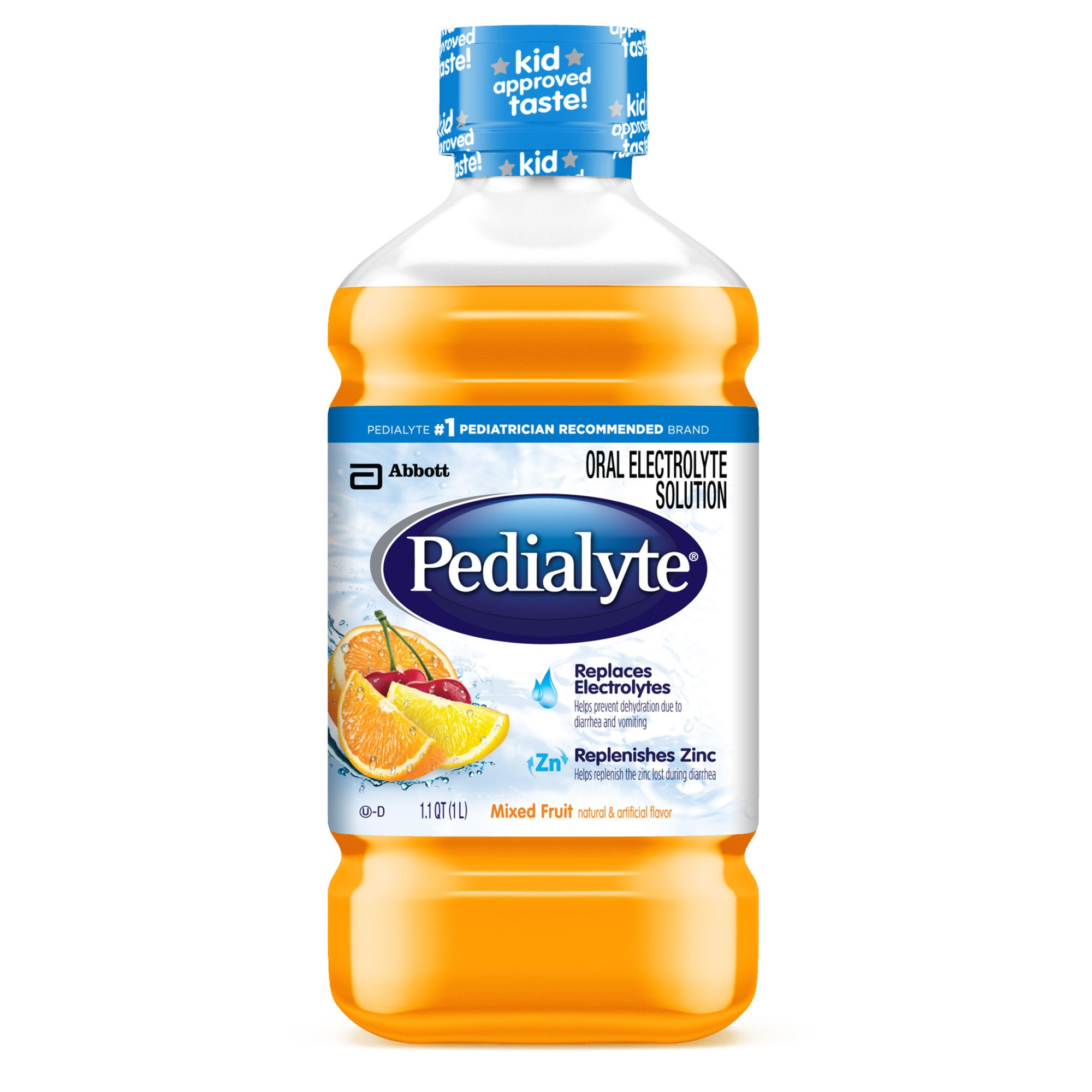 Pedialyte Electrolyte Solution, Electrolyte Drink, Mixed Fruit, Liquid, 1-L (Pack of 8)