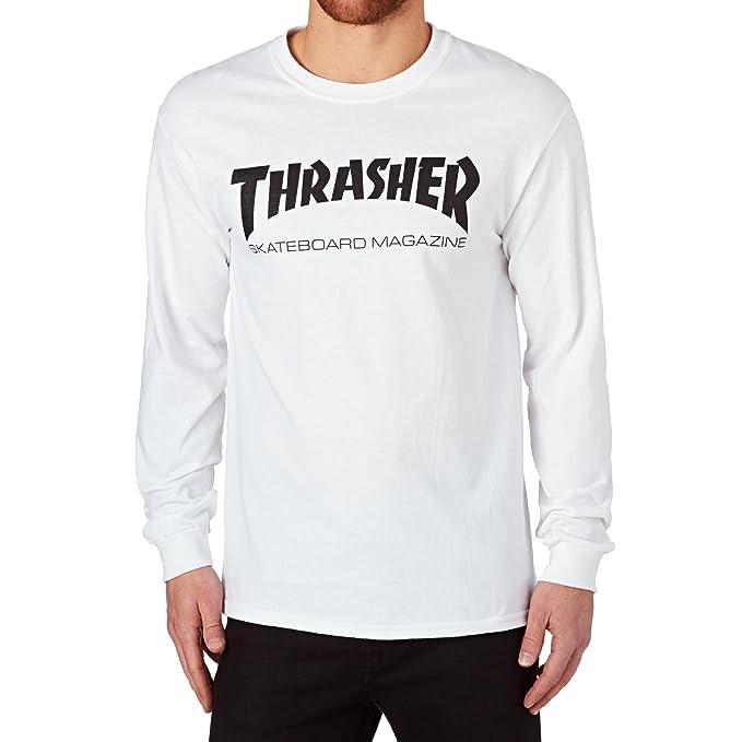 Thrasher Skate Mag Logo Long Sleeve Tee White: Amazon.es: Ropa y accesorios