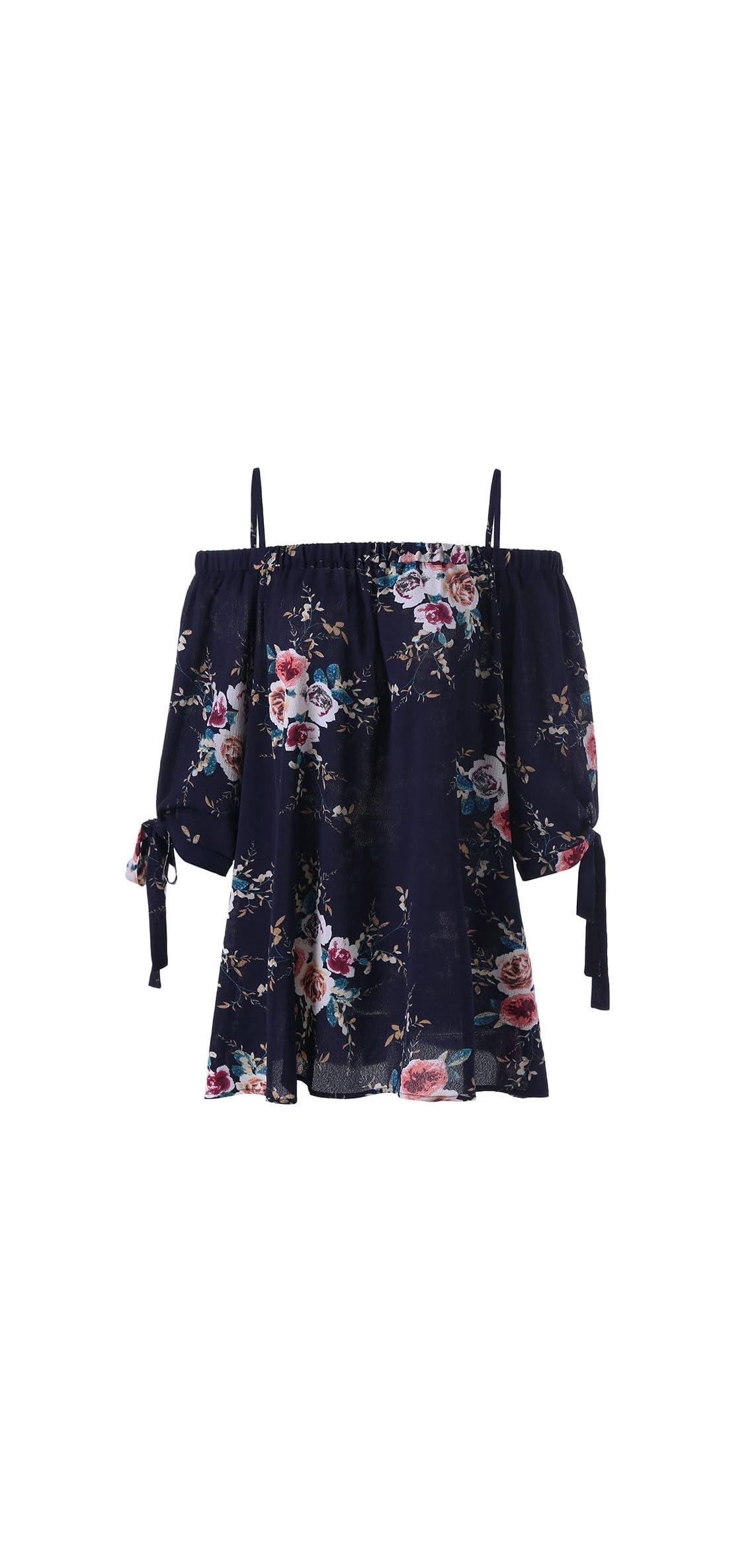 Women Plus Size Floral Classic Straps Cold Shoulder Sleeve