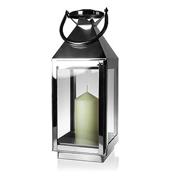 lanterne en acier inoxydable legant lanterne de jardin hauteur 40cm bougie inclus - Lanterne De Jardin