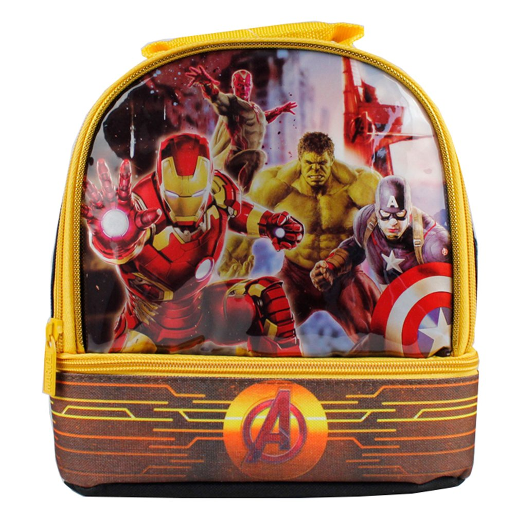 Global Design Concepts Avengers Dual Compartment Lunch Kit, Black