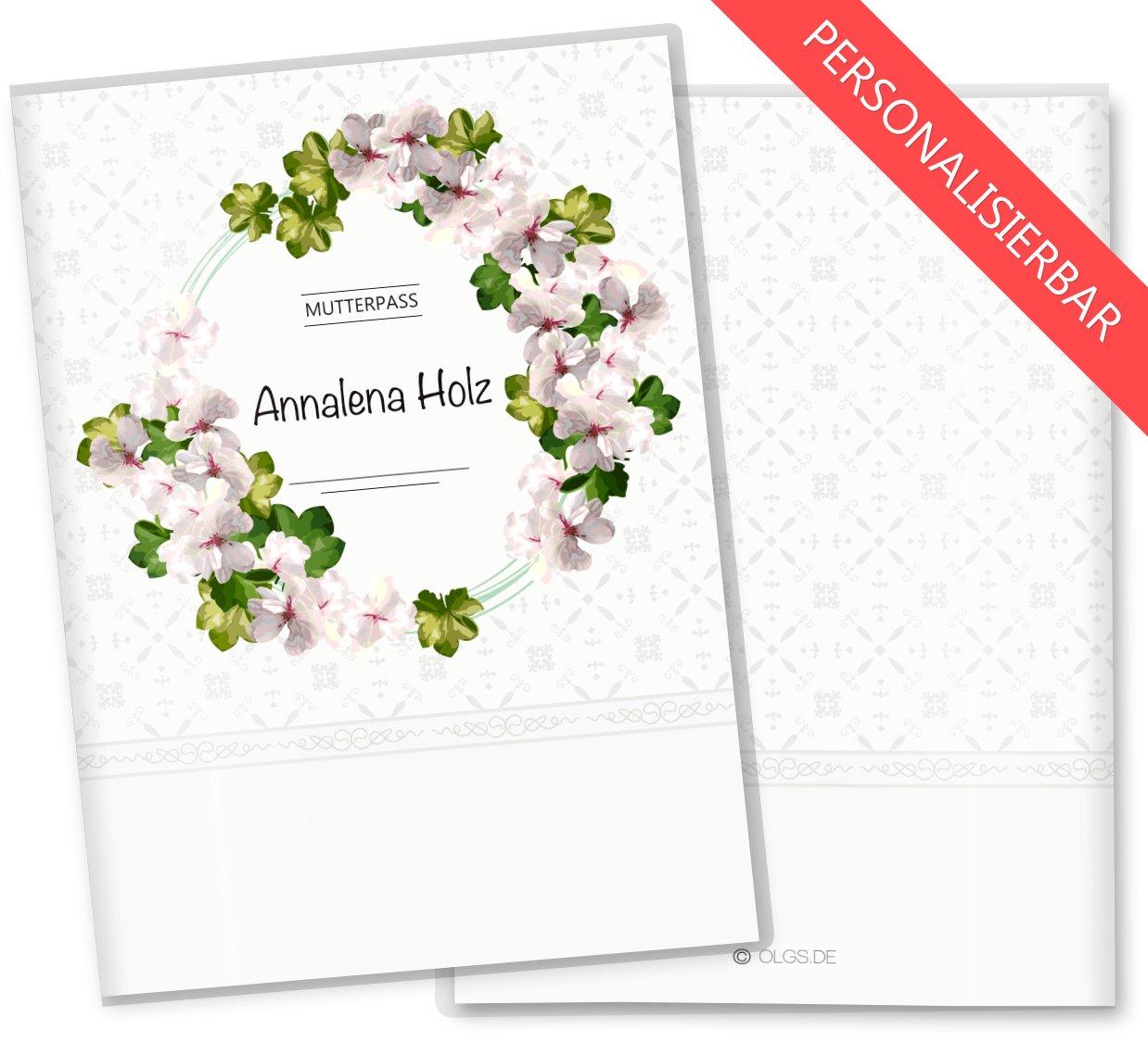Mutterpasshülle 3-teilig Blumenkranz Schutzhülle Geschenkidee (Mutterpass ohne Personalisierung, Petunia) Olgs Babyartikel
