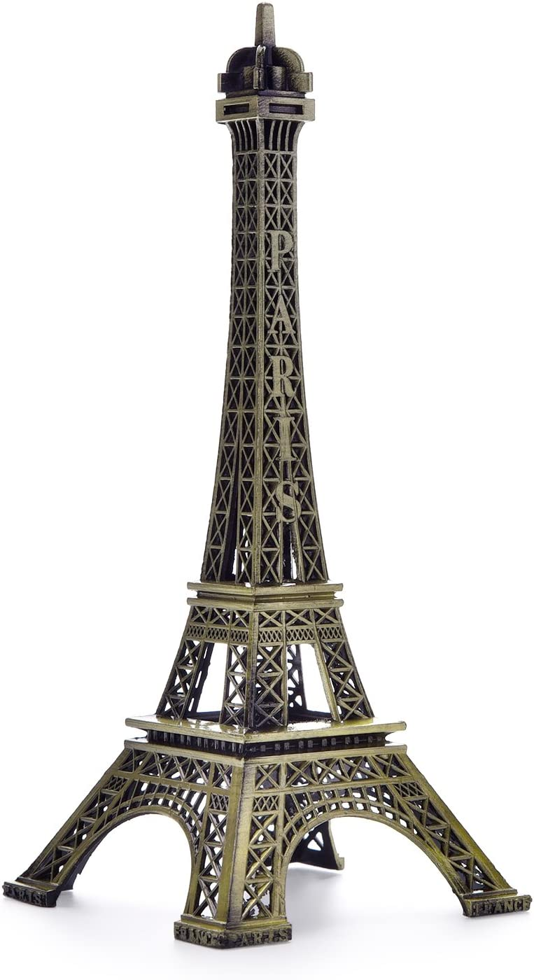 BESMELYIN Eiffel Tower Decor, 7 Inch (18cm) Metal Paris Eiffel Tower Statue Figurine Replica Drawing Room Table Decor Jewelry Stand Holder for Cake Topper,Gifts,Party and Home Decoration