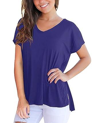 e78afc65342b ACHIOOWA Damen Sommer Kurzarm T-Shirt V Ausschnitt mit Schnürung Vorne Oberteil  Tops Bluse Shirt  Amazon.de  Bekleidung