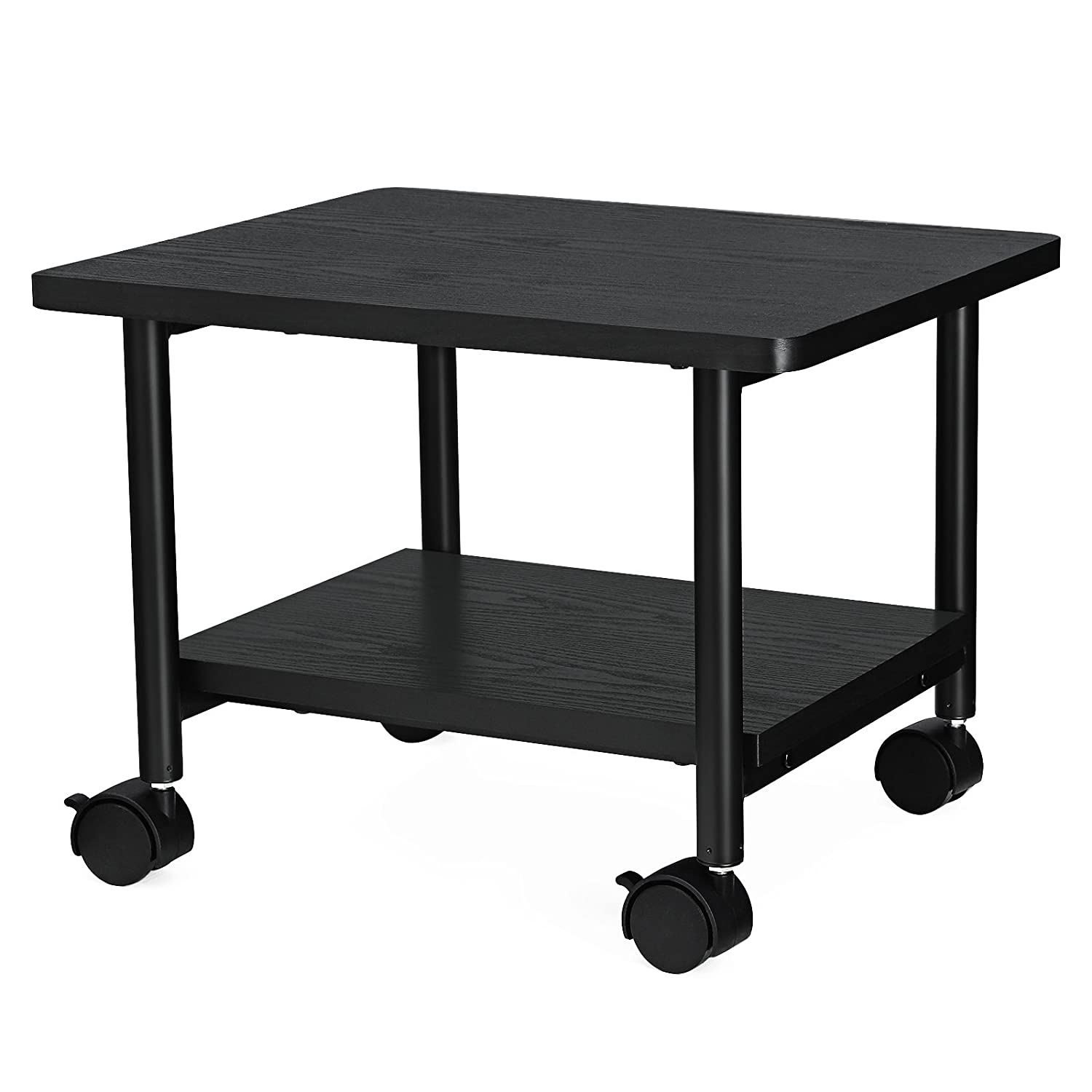 SONGMICS Under Desk Printer Stand and Mobile Machine Cart with Shelf Heavy Duty Storage Rack for Office Home Black UOPS02B Printer Rack