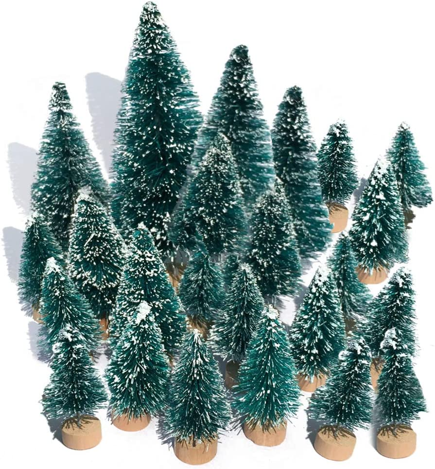 Mini Snow Globe Christmas Trees Tabletop Fake Bottle Brush Decor Craft Christmas Village Flocked Pine Trees Assorted Size Party Decoration DIY Accessories Up to 4-7/8'' 24PCS Blue