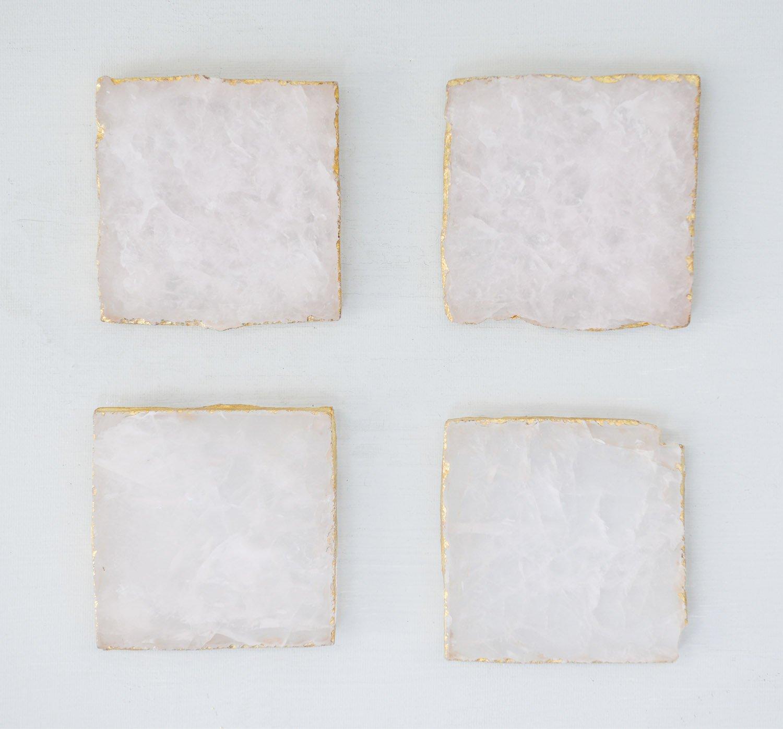 Creative Co-Op DA8957 Set of 4 Pink Agate Coasters with Foil Trim