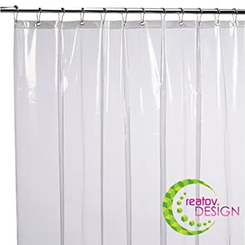 Mildew Resistant Shower Curtain Liner   72x72 Clear Peva Curtain For  Bathroom   Waterproof Odorless Eco