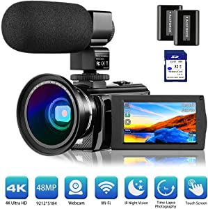 """4K Camcorder Video Camera Vlogging Camera for YouTube Rosdeca Ultra HD 48.0MP WiFi Digital Camera IR Night Vision 3.0"""" IPS Touch Screen 16X Digital Zoom with Microphone, Wide Angle Lens Memory Card"""