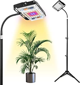 Grow Light with Stand, LBW Full Spectrum 150W LED Floor Plant Light for Indoor Plants, with On/Off Switch, Flexible Gooseneck, Adjustable Tripod Stand 15-47 inches