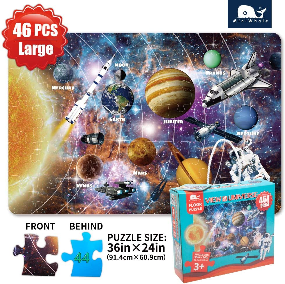 Kids Puzzle Puzzles for Kids Ages 4-8 Solar System Floor Puzzle Raising Children Recognition &Promotes Hand-Eye Coordinatio (46Pcs,3x2Feet)