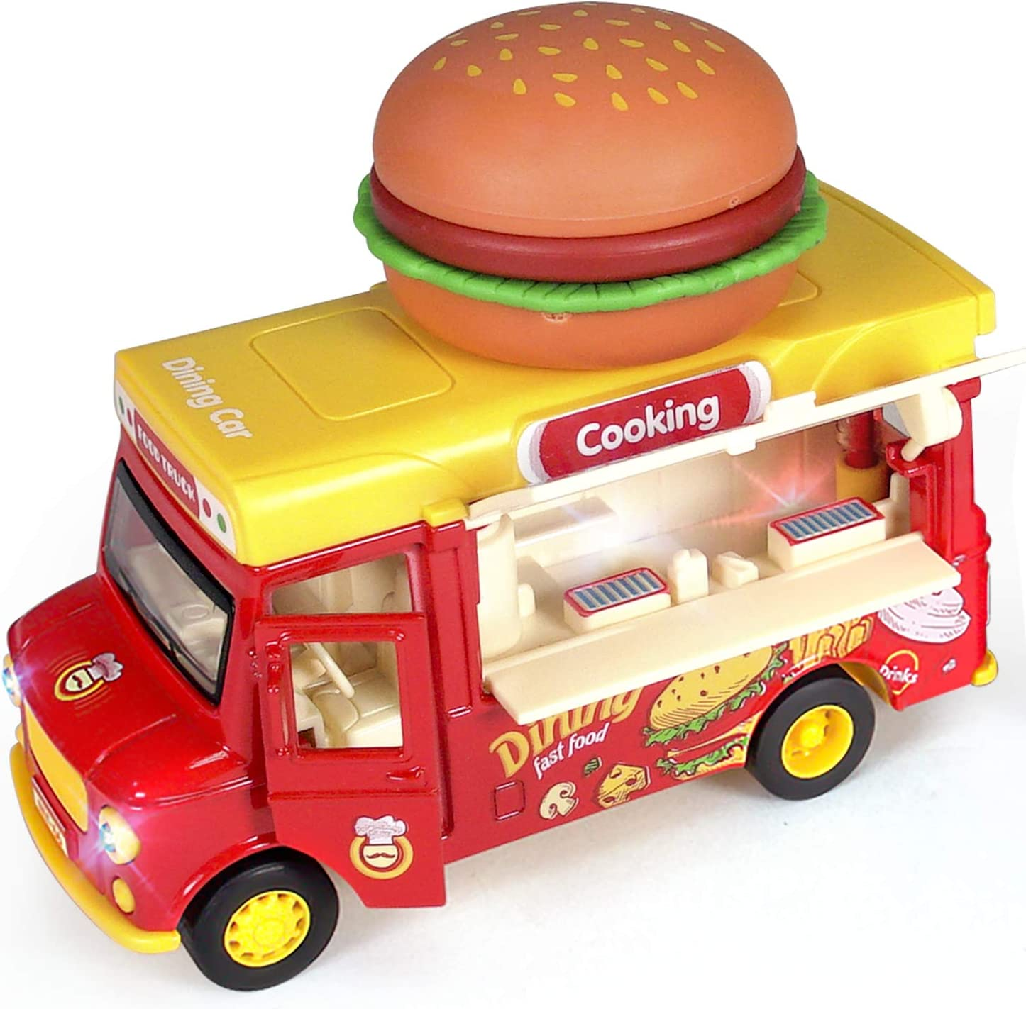 Alloy Toy Cars - Creative Decorative Models of Car Food Trucks with Sound and Light, for Children Girls and Boys.(red)