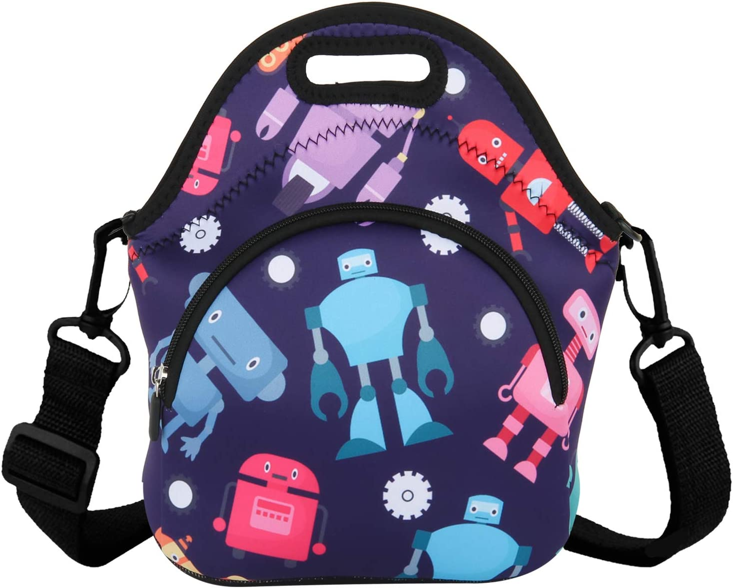 Lovely Robot Neoprene Lunch Bag Insulated Tote Lunchbox Carrier with Zipper Pocket for Boys Girls School Office