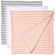 Amazon Essentials Baby 3-Pack Swaddle Blanket, Uni Stripe, One Size