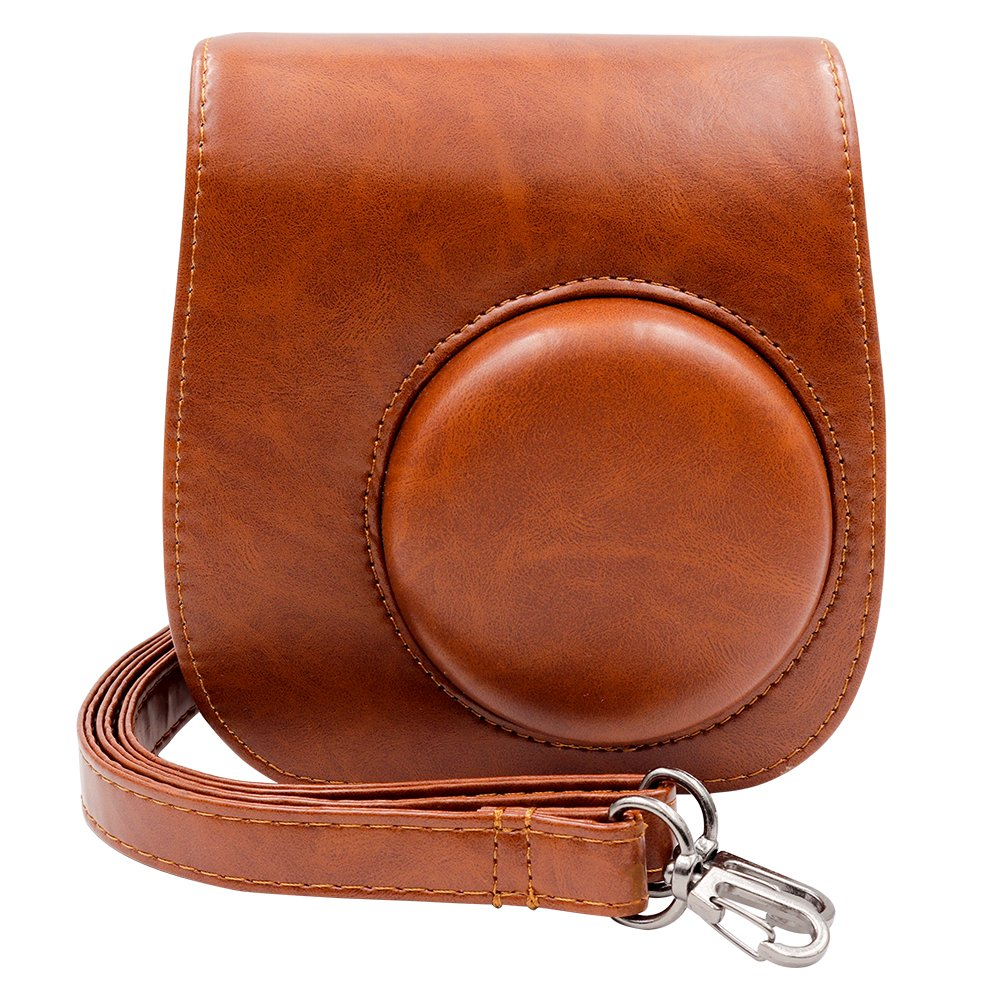 Ablus Instant Camera PU Leather Case Bag for Fujifilm Instax Mini 8 8+ 9 Instant Film Camera with Shoulder Strap (Brown)