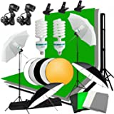 Abeststudio Studio Umbrella Continuous Lighting Backdrop Kit - 4 Backdrops (White,Green,Black,Gray) + 2 Umbrellas + 2X 125W Light Set + Background Support Stand System + Lighting Stand + 60cm 5 in 1 Reflector Panel