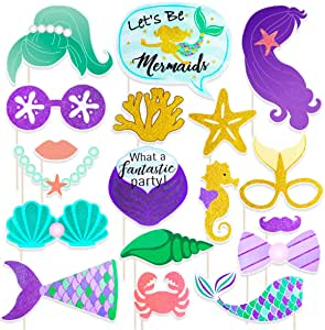 BESTOYARD Mermaid Photo Booth Props 18 Pack Cumpleaños de Baby ...
