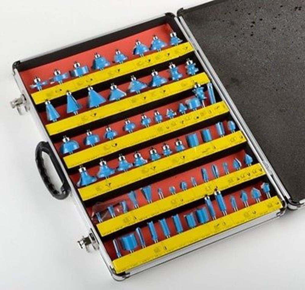 Power Tools 66 PC X 1/4'' SHANK ROUTER BIT Set Carbide BITS Routers Power Tools Accessories by Router Bits