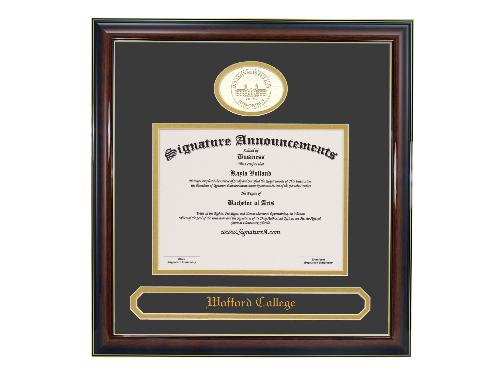 Signature Announcements Wofford-College Undergraduate, Graduate/Professional/Doctor Sculpted Foil Seal & Name Diploma Frame, 16'' x 16'', Gold Accent Gloss Mahogany