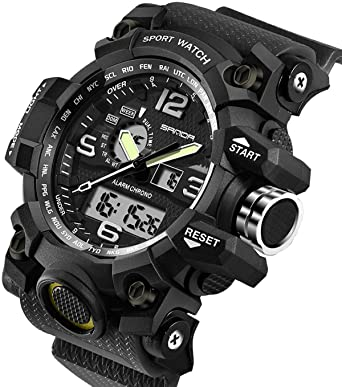 Mens Watches Military Sports Electronic Waterproof LED Stopwatch Digital Analog Dual Display Outdoor Army Wrist Watch