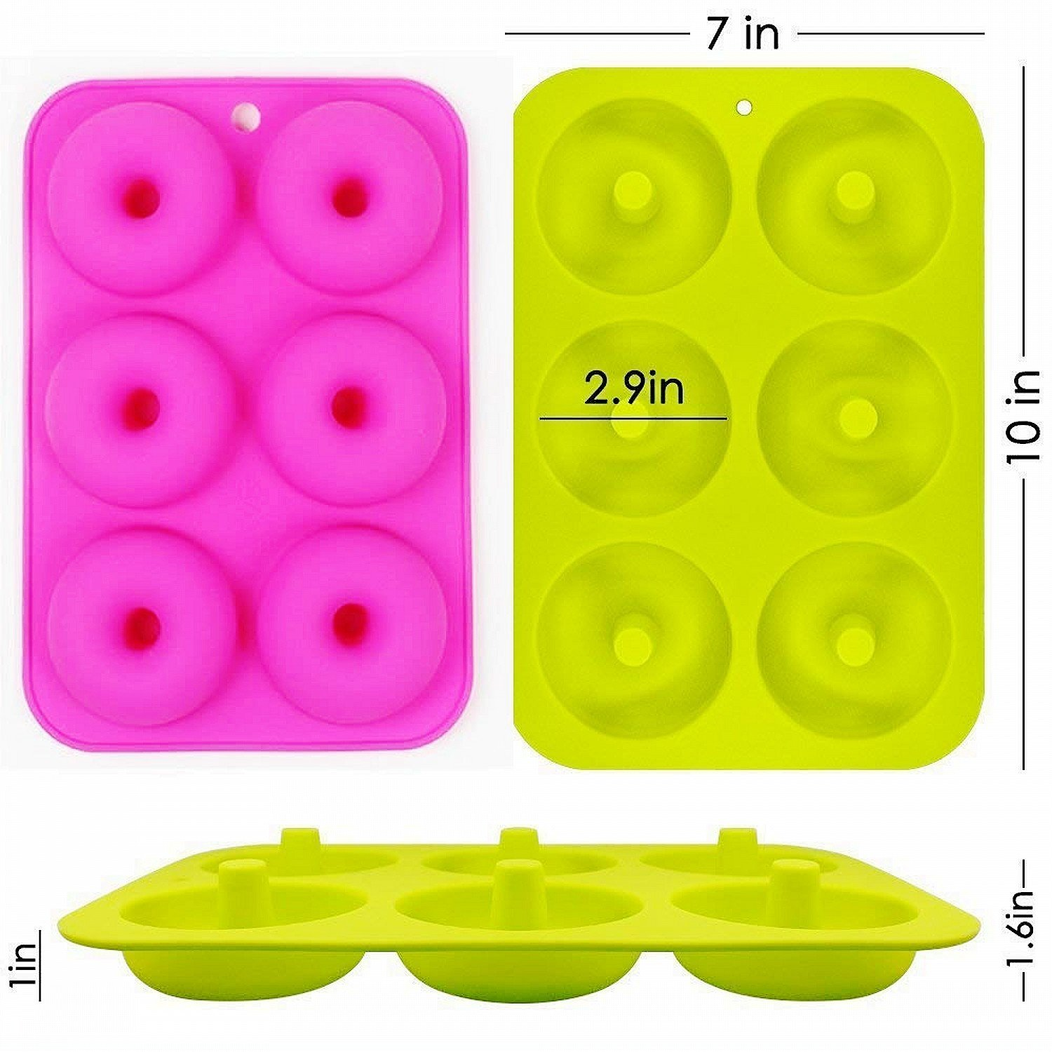 OKSANO 3 Pack Donut Molds, Silicon Cake Mold 6 Cavity Non-Stick Safe Baking Tray Maker Pan Heat Resistance for Cake Biscuit Bagels Muffins-Orange, Rose Red, Green by OKSANO (Image #3)