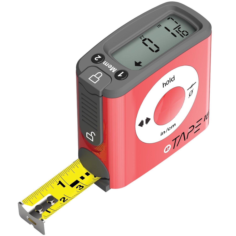 eTape16 ET16.75-db-RP Digital Tape Measure, 16 Feet, Red by eTape16