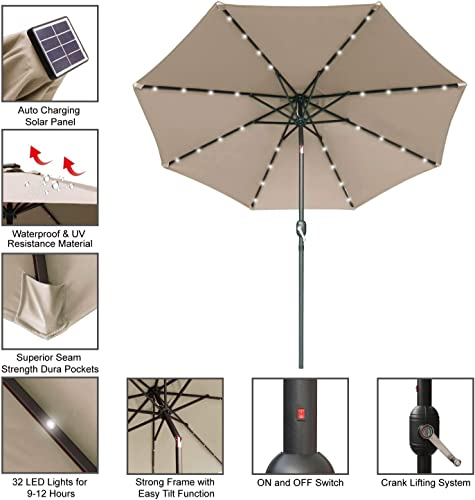 ABCCANOPY 9FT Patio Umbrella Ourdoor Solar Umbrella LED Umbrellas with 32LED Lights, Tilt and Crank Table Umbrellas for Garden, Deck, Backyard and Pool,12 Colors, Khaki