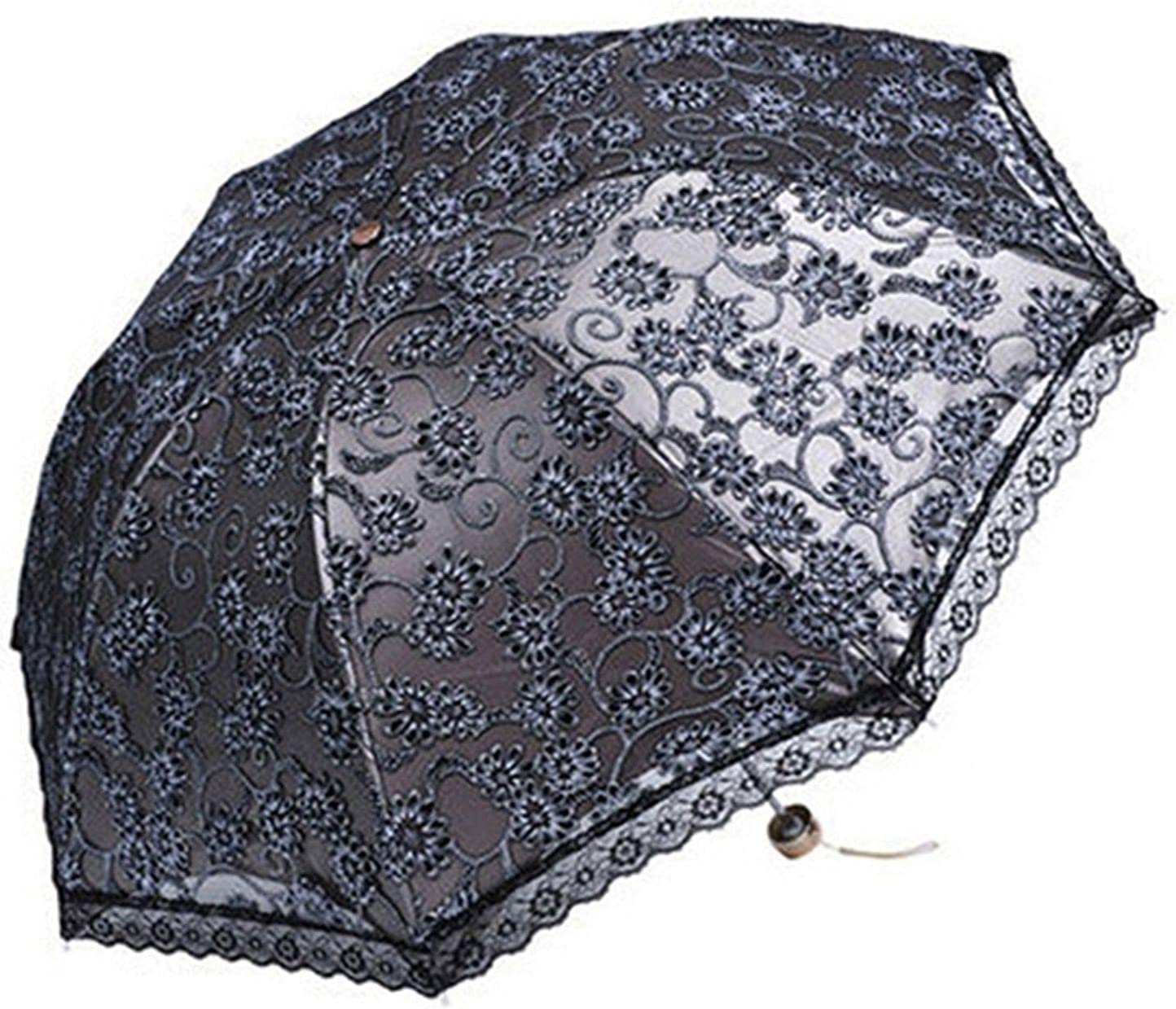 Gray Compact Lace Wedding Parasol Folding Travel Sun Umbrella Uv Block ,Gray