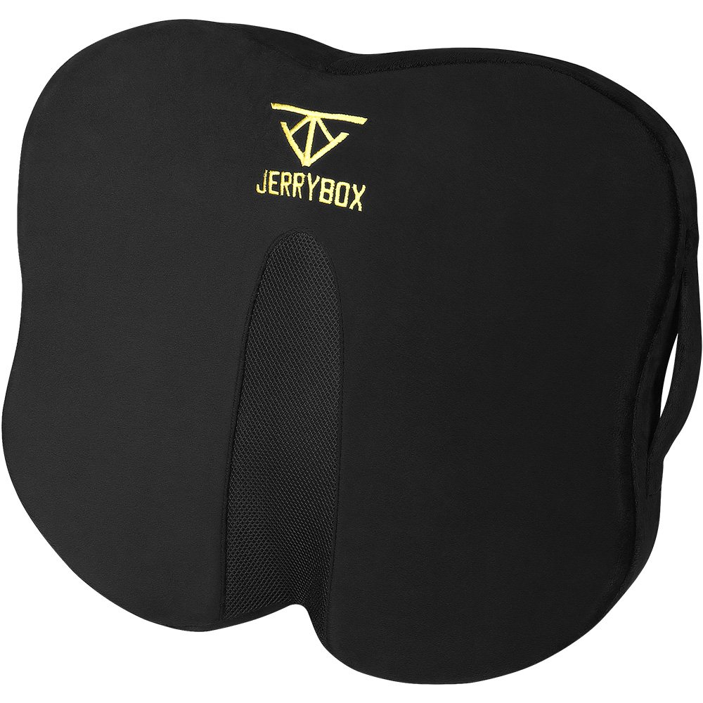 Jerrybox Seat Cushion Ergonomic Memory Foam Office Chair Pillow and Car Seat Cushion for Back Pain Relief, Sciatica and Tailbone Pain, Back Support with Washable Cover
