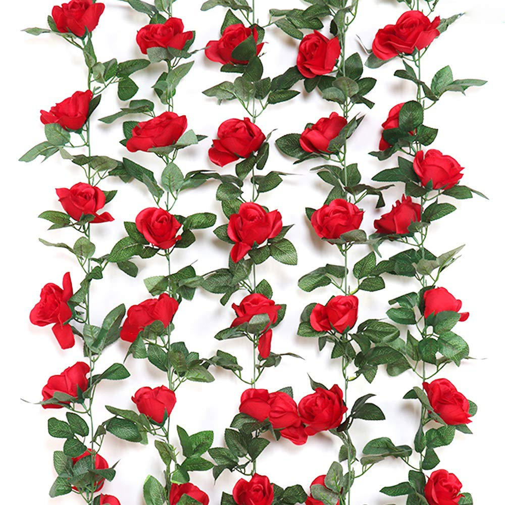 Y wang 3Pack (23.5 Feet) Artificial Flowers Vines Fake Rose Garland For Home Hotel Wedding Party Garden Craft Art Decor Red