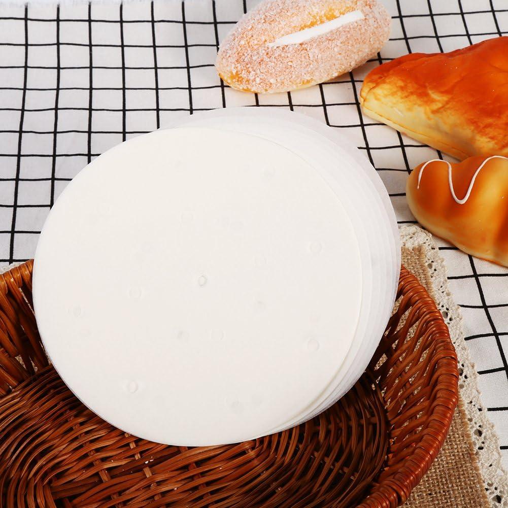 100/pcs Dim SUM papier 3/tailles de moins de vapeur anti-adh/érente pour panier vapeur en bambou de cuisine Restaurant Utilisation 8 inch