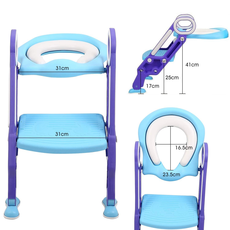 T/öpfchen Trainer MALFI Toilettentrainer mit Treppe Kinder Toilettenleiter 1-9 Jahre lila//blau