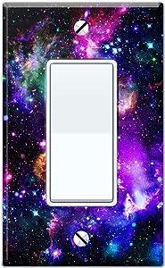 WIRESTER Single Gang Decorator Light Switch Plate/Wall Plate Cover - Purple Marvel Nebula Galaxy