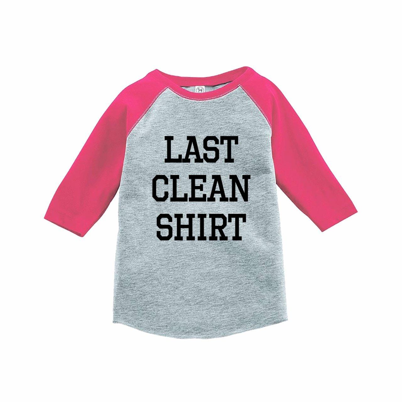 7 ate 9 Apparel Funny Kids Last Clean Shirt Baseball Tee Pink