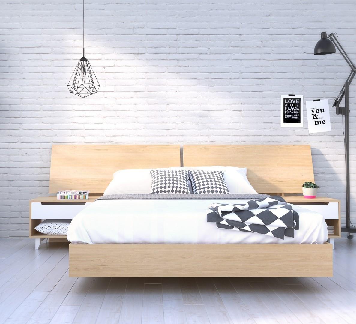 Nordik 4 Piece Queen Size Bedroom Set Natural Maple & White by Nexera