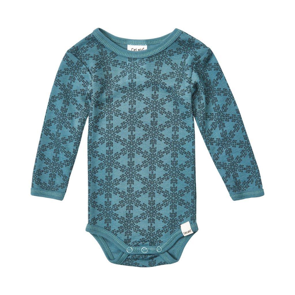 Grey/turquoise Baby Bodysuit 100% Merino Wool/bamboo Long Sleeved