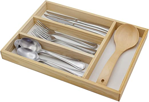 4 Compartimentos e!Orion Bandeja para Cuberter/ía Organizador de Cubiertos Cubertera de Madera Divisor Cajones de Cocina 34 x 25 x 3,3 cm